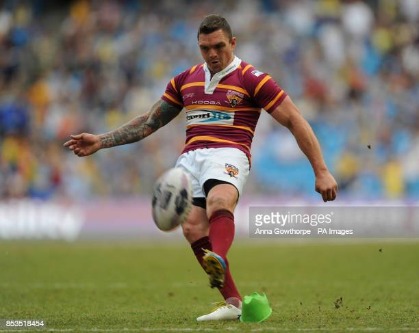 Huddersfield Giants' Danny Brough scores a conversion during the First Utility Super League Magic Weekend match at the Etihad Stadium Manchester