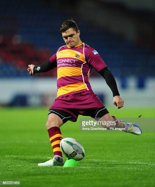 Huddersfield Giants' Danny Brough takes a conversion during the Super League Preliminary Semi Final at the John Smiths Stadium Huddersfield