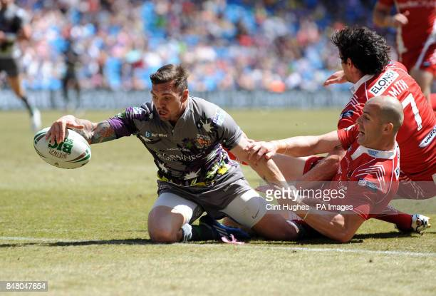 Huddersfield Giants's Danny Brough scores the second try during the Stobart Super League Magic Weekend match at the Etihad Stadium Manchester