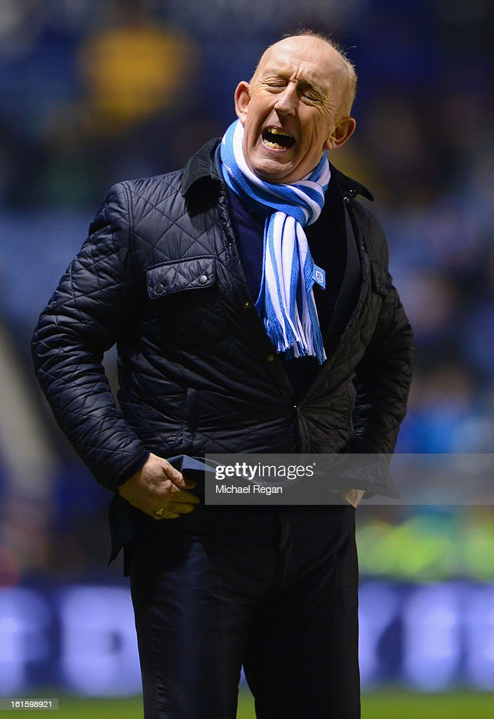 Huddersfield Town caretaker manager Mark Lillis reacts during the FA Cup Fourth Round Replay between Leicester City and Huddersfield Town at The King Power Stadium on February 12, 2013 in Leicester, England.