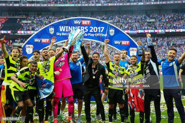 Huddersfield Town celebrate winning the play off final during the Sky Bet Championship Play Off Final match between Reading and Huddersfield Town at...