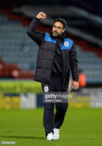 Huddersfield Town Manager David Wagner celebrates after winning the Sky Bet Championship match between Huddersfield Town and Charlton Athletic on...
