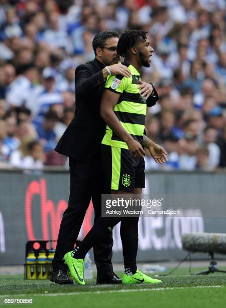 Huddersfield Town manager David Wagner with Kasey Palmer during the EFL Sky Bet Championship PlayOff Final match between Huddersfield Town and...