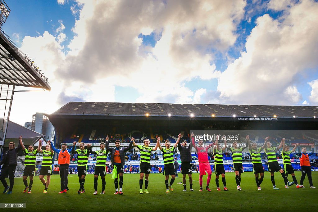 Huddersfield Town players celebrate the 0-1 victory at full time during the Sky Bet Championship match between Ipswich Town and Huddersfield Town at Portman Road on October 1, 2016 in Ipswich, England.