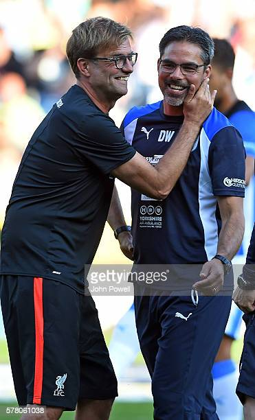 Huddersfield Town v Liverpool Jurgen Klopp Manager of Liverpool with David Wagner Manager of Huddersfield Town before the PreSeason Friendly at...