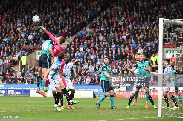 Huddersfield Town's Alex Smithies clears the ball