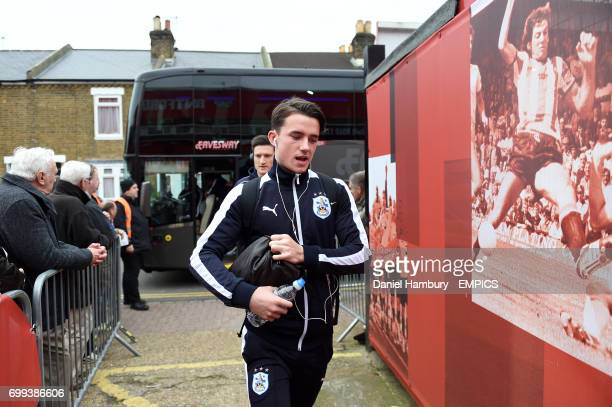 Huddersfield Town's Benjamin Chilwell arrives at Griffin Park before the game