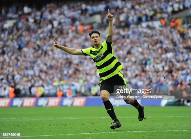 Huddersfield Town's Christopher Schindler scores his sides fourth penalty to win the game in the EFL Sky Bet Championship PlayOff Final match between...