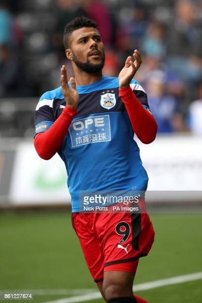 Huddersfield Town's Elias Kachunga applauds supporters the Premier League match at the Liberty Stadium Swansea