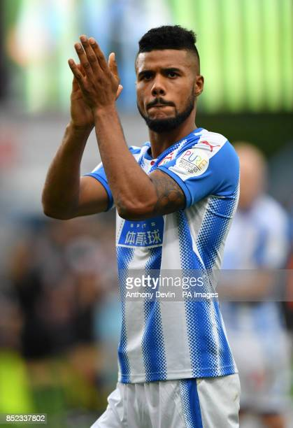 Huddersfield Town's Elias Kachunga applauds the fans after the Premier League match at Turf Moor Burnley