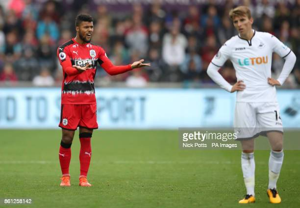 Huddersfield Town's Elias Kachunga gestures during the Premier League match at the Liberty Stadium Swansea