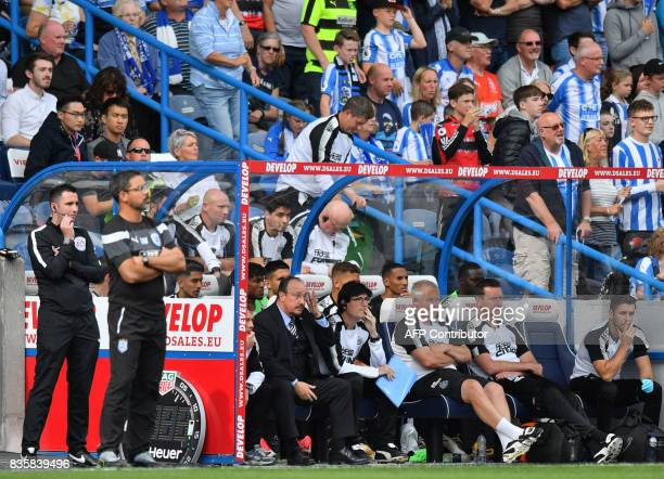 Huddersfield Town's German head coach David Wagner and Newcastle United's Spanish manager Rafael Benitez look on during the English Premier League...