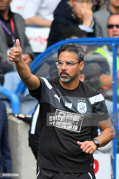 Huddersfield Town's German head coach David Wagner gestures from the sideline during the English Premier League football match between Huddersfield...