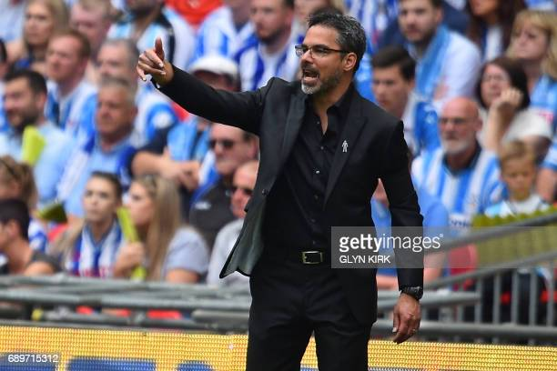 Huddersfield Town's German head coach David Wagner gestures on the touchline during the English Championship playoff final football match between...