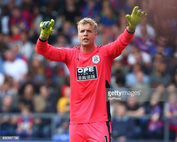 Huddersfield Town's Jonas Lossl during Premier League match between Crystal Palace and Huddersfield Town at Selhurst Park Stadium London England on...