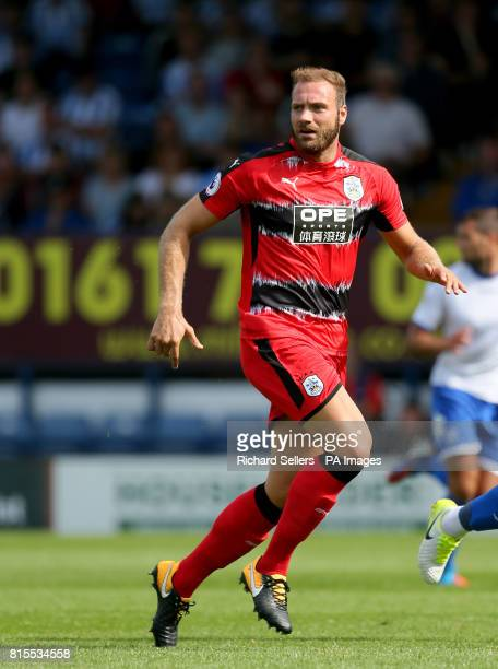 Huddersfield Town's Laurent Depoitre during the preseason match at Gigg Lane Bury