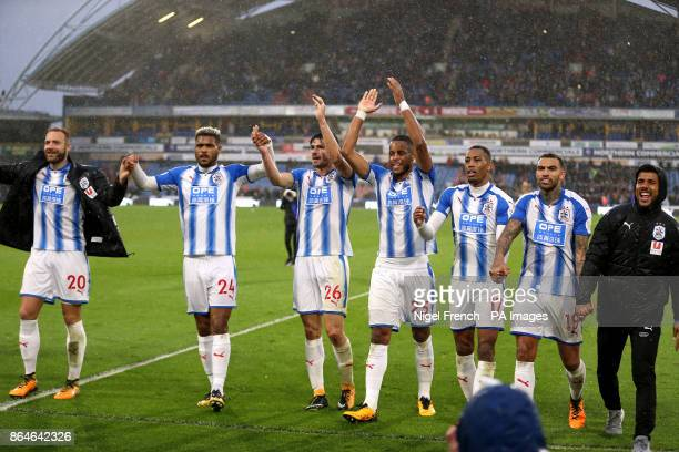 Huddersfield Town's Laurent Depoitre Steve Mounie Christopher Schindler Mathias Jorgensen Rajiv van La Parra Danny Williams and Elias Kachunga...