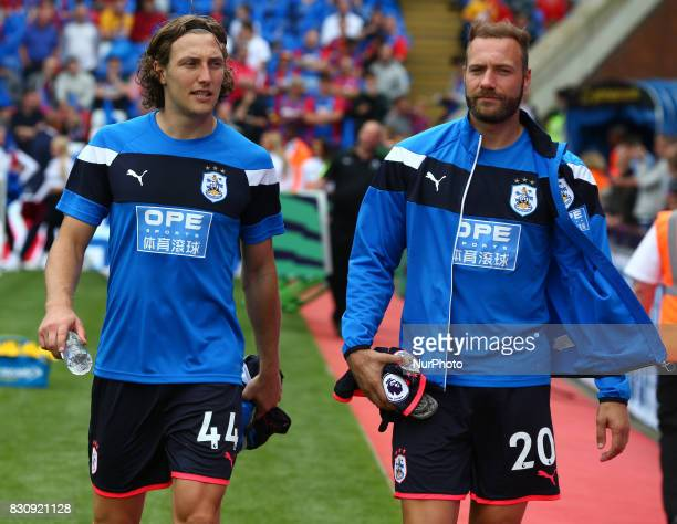LR Huddersfield Town's Michael Hefele and Huddersfield Town's Laurent Depoitre during Premier League match between Crystal Palace and Huddersfield...