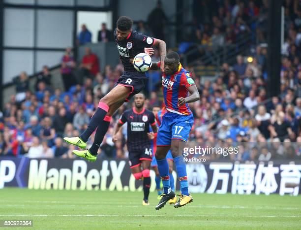 Huddersfield Town's Philip Billing beats Crystal Palace's Christian Benteke during Premier League match between Crystal Palace and Huddersfield Town...