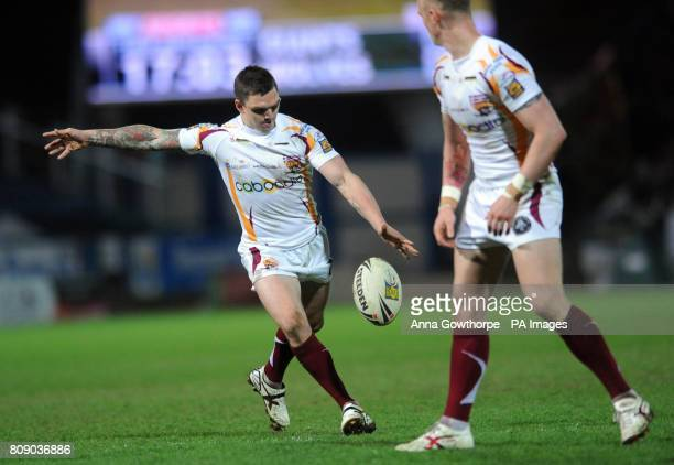 Huddersfield's Danny Brough scores a drop goal during the engage Super League match at the Galpharm Stadium Huddersfield