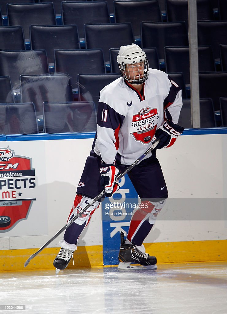 Hudson Fasching #11 of Team McClanahan takes part in the morning skate prior to the USA Hockey All-American Prospects Game at the First Niagara Center on September 29, 2012 in Buffalo, New York.