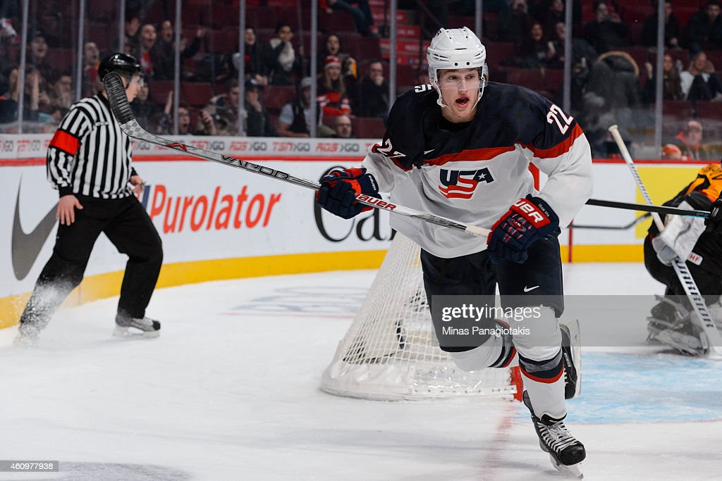 <a gi-track='captionPersonalityLinkClicked' href=/galleries/search?phrase=Hudson+Fasching&family=editorial&specificpeople=9771190 ng-click='$event.stopPropagation()'>Hudson Fasching</a> #22 of Team United States skates during the 2015 IIHF World Junior Hockey Championship game against Team Germany at the Bell Centre on December 28, 2014 in Montreal, Quebec, Canada. Team United States defeated Team Germany 6-0.