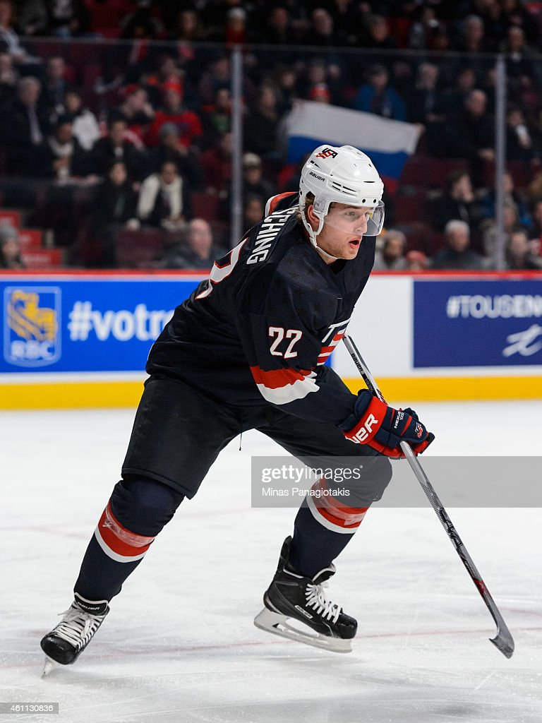<a gi-track='captionPersonalityLinkClicked' href=/galleries/search?phrase=Hudson+Fasching&family=editorial&specificpeople=9771190 ng-click='$event.stopPropagation()'>Hudson Fasching</a> #22 of Team United States skates in a quarterfinal round during the 2015 IIHF World Junior Hockey Championships against Team Russia at the Bell Centre on January 2, 2015 in Montreal, Quebec, Canada. Team Russia defeated Team United States 3-2.