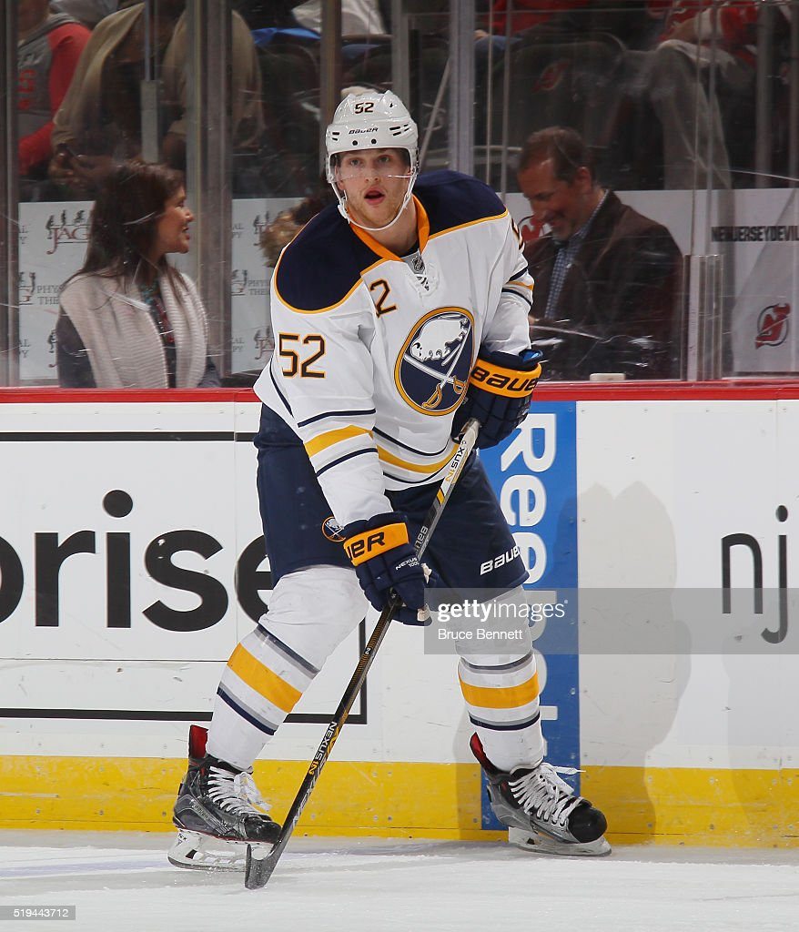 <a gi-track='captionPersonalityLinkClicked' href=/galleries/search?phrase=Hudson+Fasching&family=editorial&specificpeople=9771190 ng-click='$event.stopPropagation()'>Hudson Fasching</a> #52 of the Buffalo Sabres skates against the New Jersey Devils at the Prudential Center on April 5, 2016 in Newark, New Jersey. The Sabres defeated the Devils 3-1.