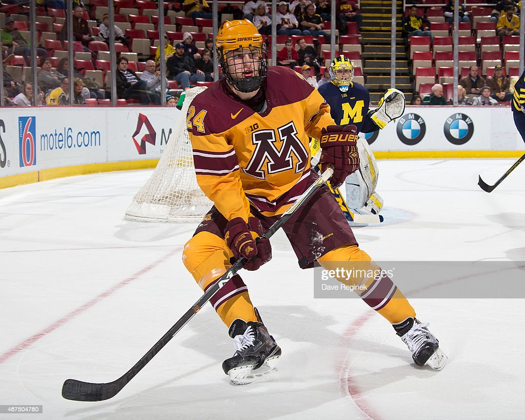 <a gi-track='captionPersonalityLinkClicked' href=/galleries/search?phrase=Hudson+Fasching&family=editorial&specificpeople=9771190 ng-click='$event.stopPropagation()'>Hudson Fasching</a> #24 of the Minnesota Golden Gophers follows the play against the Michigan Wolverines during the finals of Big Ten Mens Ice Hockey Championship on March 21, 2015 at Joe Louis Arena in Detroit, Michigan. Minnesota defeated the Michigan 4-2 to win the championship game.