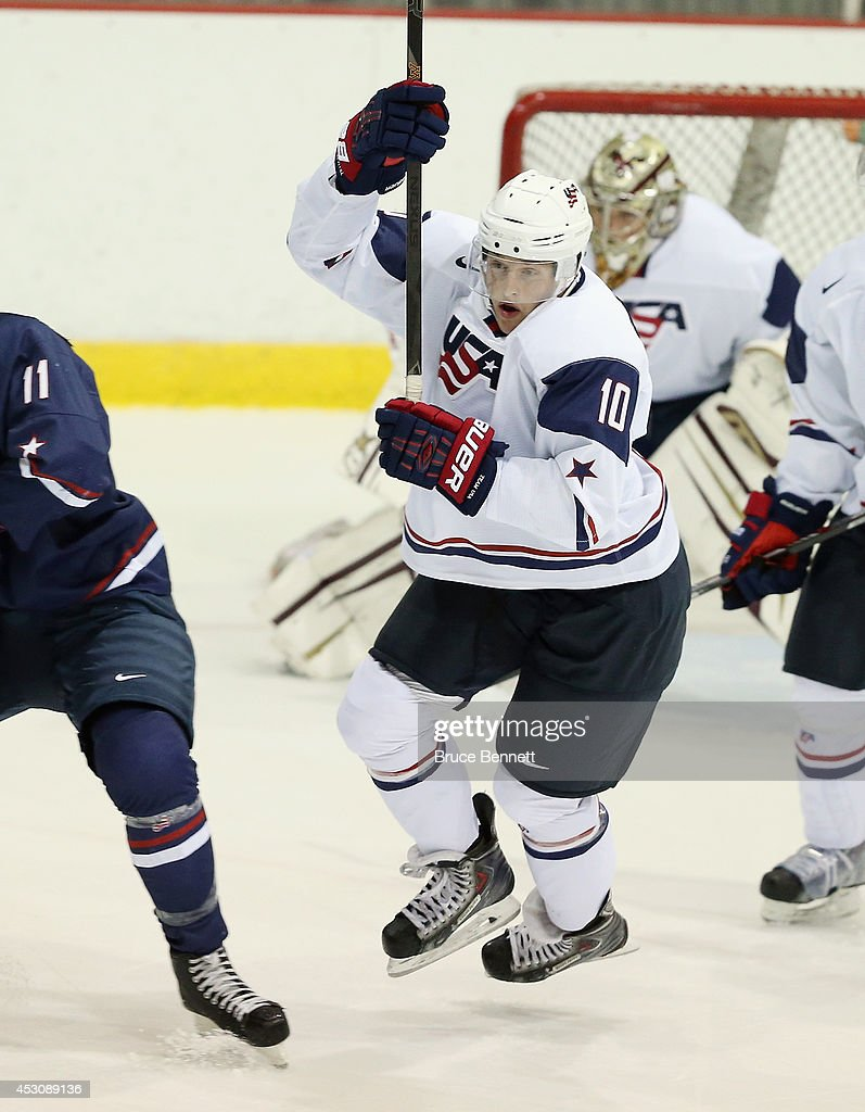 <a gi-track='captionPersonalityLinkClicked' href=/galleries/search?phrase=Hudson+Fasching&family=editorial&specificpeople=9771190 ng-click='$event.stopPropagation()'>Hudson Fasching</a> #10 of USA White skates against USA Blue during the 2014 USA Hockey Junior Evaluation Camp at Lake Placid Olympic Center on August 2, 2014 in Lake Placid, New York.