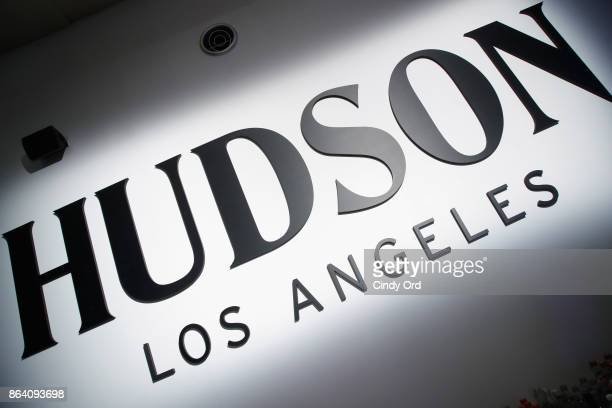 Hudson Jean signage is seen during Hudson Jean SS18 Preview Hosted by Kaia Gerber on October 20 2017 in New York City