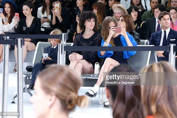Hudson Kroenig Annie Clark alias 'St Vincent' and Model Cara Delevingne attend the Chanel show as part of the Paris Fashion Week Womenswear...