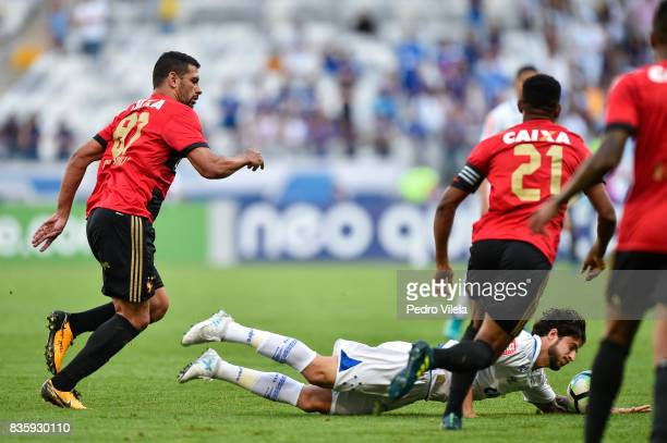 Hudson of Cruzeiro and Diego Souza of Sport Recife battle for the ball during a match between Cruzeiro and Sport Recife as part of Brasileirao Series...