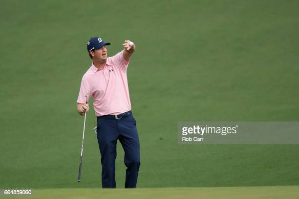 Henrik Stenson of Sweden plays a shot on the second hole during a practice round prior to the start of the 2017 Masters Tournament at Augusta...
