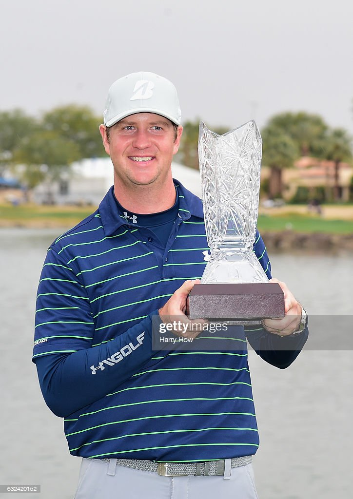 Hudson Swafford poses with the trophy during the final round of the CareerBuilder Challenge in partnership with The Clinton Foundation at the TPC Stadium Course at PGA West on January 22, 2017 in La Quinta, California.