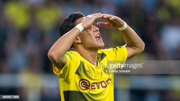 Hueseyin Bulut of Dortmund reacts after a chance during the U19 German Championship Final between Borussia Dortmund and FC Bayern Muenchen on May 22...