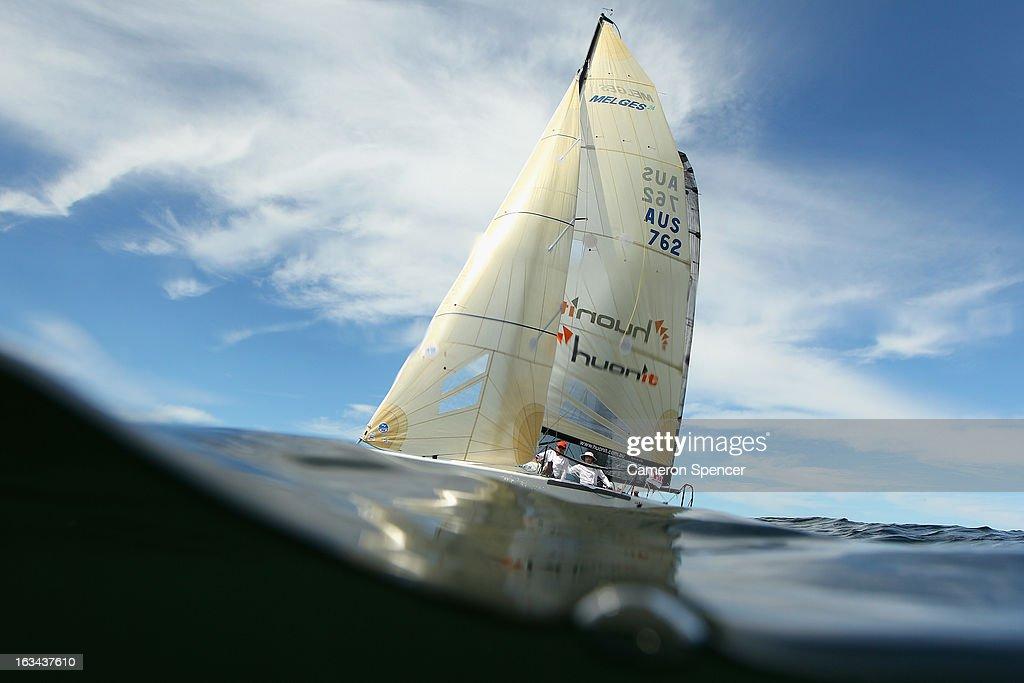 'Huey II' races during the Sydney Regatta on Sydney Harbour, on March 10, 2013 in Sydney, Australia.
