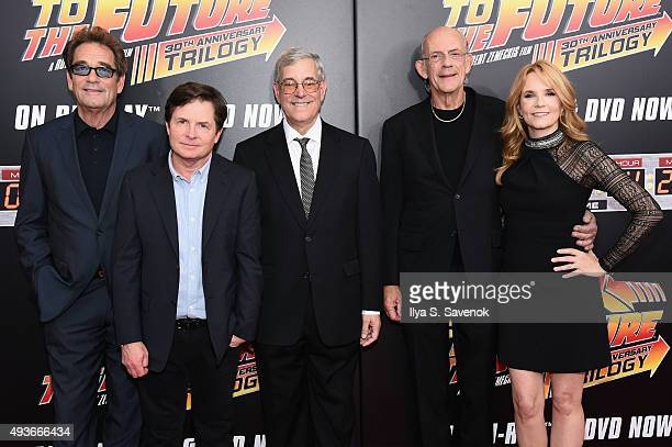 Huey Lewis Michael J Fox Bob Gale Christopher Lloyd and Lea Thompson attend the Back to the Future reunion with fans in celebration of the Back to...