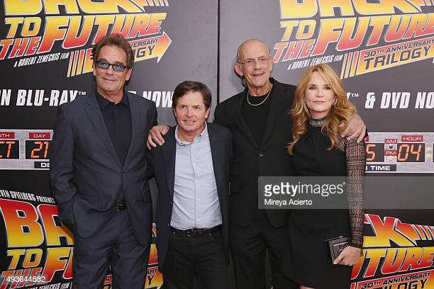 Huey Lewis Michael J Fox Christoper Lloyd and Lea Thompson attend 'Back To The Future' New York Special Anniversary screening at AMC Loews Lincoln...
