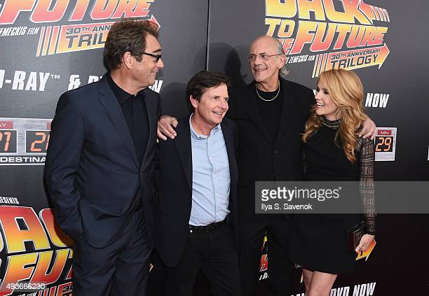 Huey Lewis Michael J Fox Christopher Lloyd and Lea Thompson attend the Back to the Future reunion with fans in celebration of the Back to the Future...