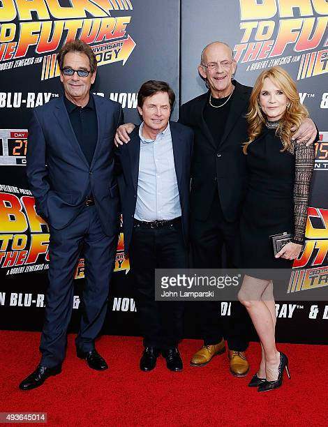 Huey Lewis Michael J Fox Christopher Lloyd and Tea Thompson attend 'Back To The Future' New York special anniversary screening at AMC Loews Lincoln...