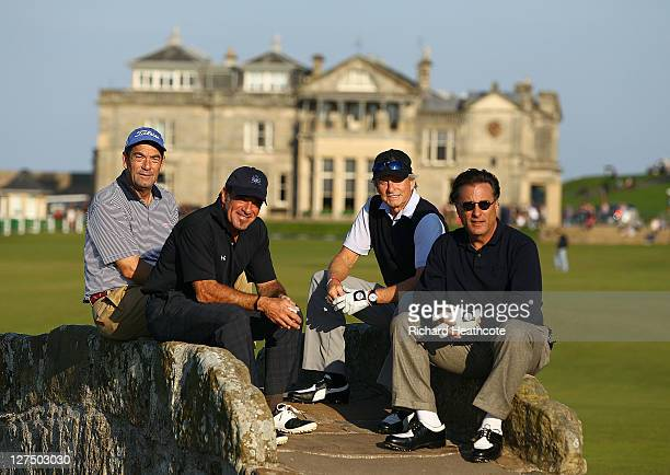 Huey Lewis Tico Torres Michael Douglas and Andy Garcia pose for a photo on the Swilken Bridge on the 18th hole during the final practice round of The...