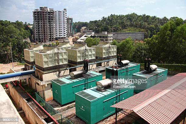 Huge air conditioning system outside of a business building at the center of technology in Kerala called technopark where highly educated women and...