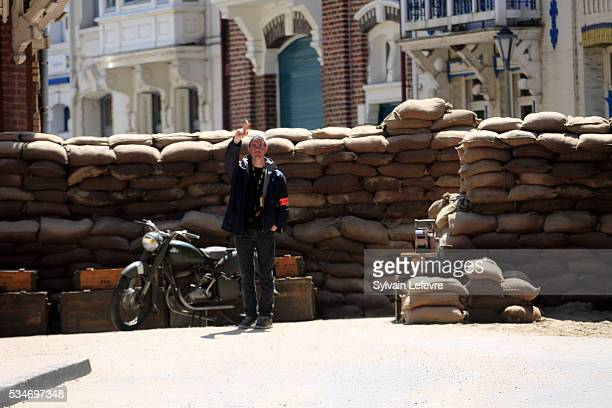 Huge banks of sandbags in the streets on the set of Christopher Nolan's 'Dunkirk' on May 26 2016 in Dunkerque France