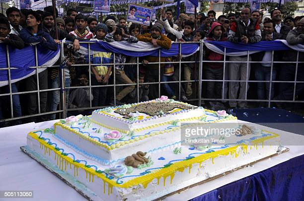 A huge cake to be cut by BSP local leaders and workers to celebrate the 60th birthday of their leader Mayawati at Ambedkar Park on January 15 2016 in...