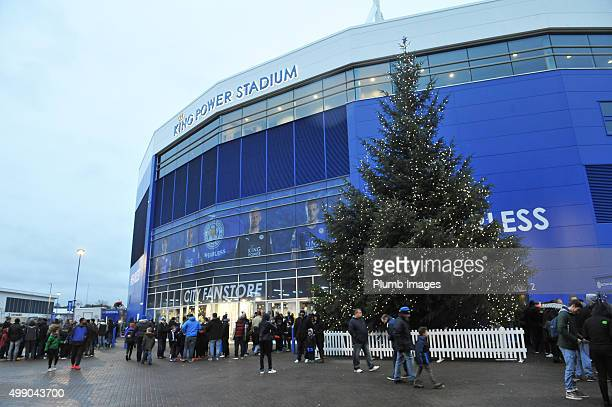 A huge Christmas tree outside the King Power Stadium ahead of the Barclays Premier League match between Leicester City and Manchester United at the...