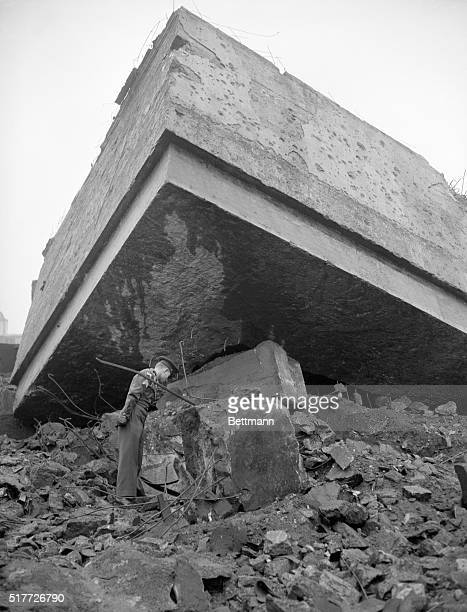 Huge chunks of reinforced concrete lie atop the air raid shelter where Hitler is believed to have committed suicide The bunker was the site of a...