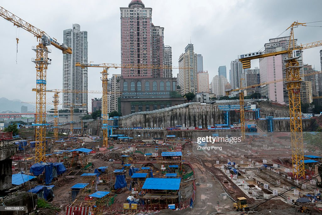 CHAOTIANMEN CHONGQING CHINA A huge construction site in the city centre Chinese home prices rose in August for the first time this year compared with...