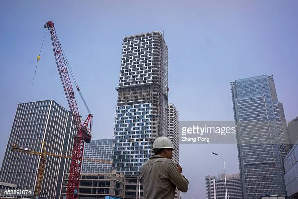 Huge construction site in Xiangluo Bay Yujiapu Xiangluo Bay a new biggest central business district under construction in Tianjin has been expected...