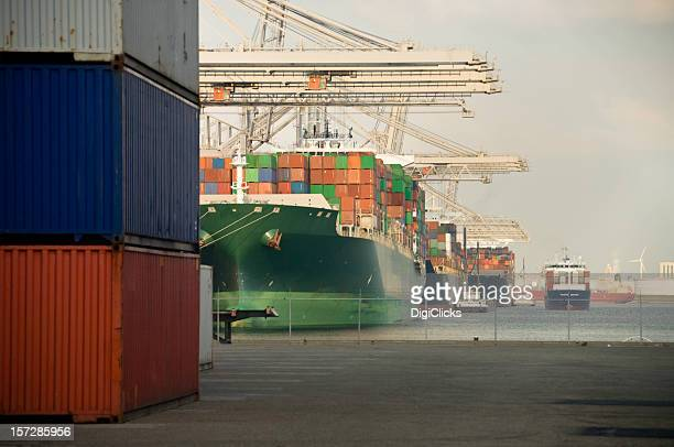 Huge container ships, lined up at the port, near cargo